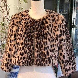 Cuddly Faux  Leopard shrug Med NWT